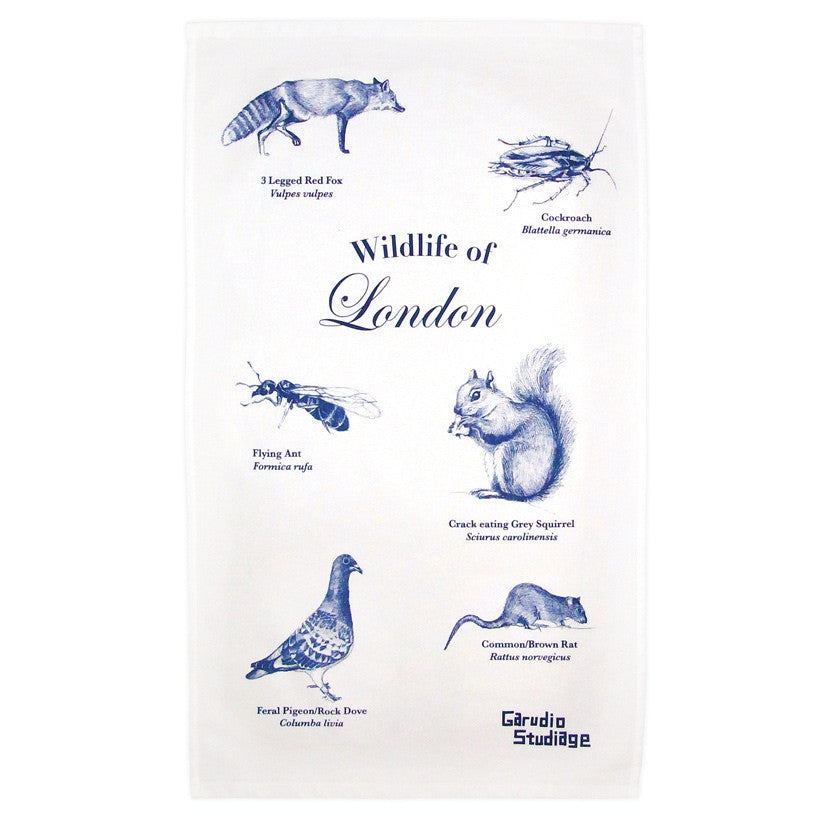 Wildlife of London Tea Towel - Blue