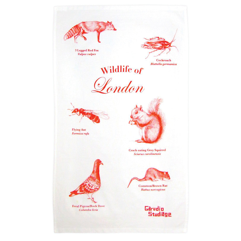 Wildlife of London Tea Towel - Red