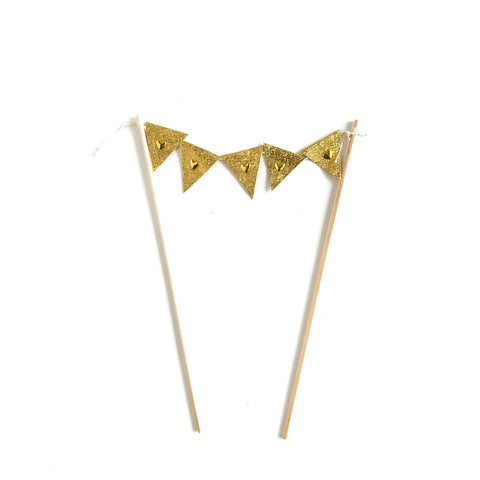 Cake Topper Flag - Gold (incl GST)