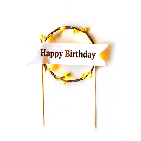 LED Light Cake Topper - Yellow Round