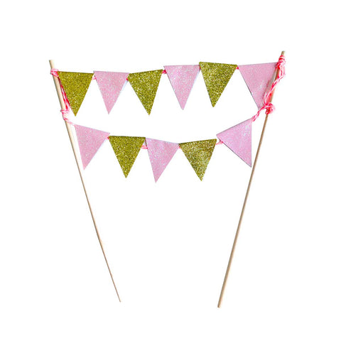 Cake Topper Flag - Pink & Gold