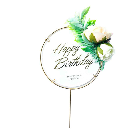 Round Cake Topper - Tropical Flora