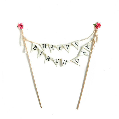 Cake Topper Flag - Happy Birthday
