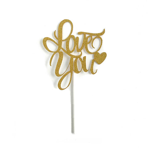 Cake Topper - Love You (Gold)