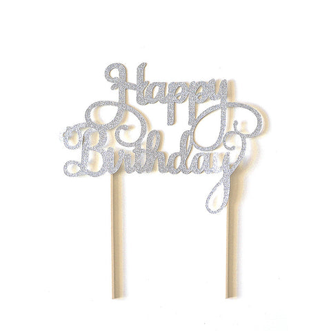 Cake Topper - Happy Birthday (Silver)