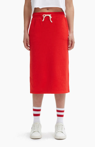 SPLIT MIDI REVERSE WAVE SKIRT RED
