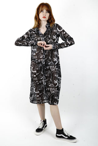 DRAWN OUT SHEER SHIRT DRESS