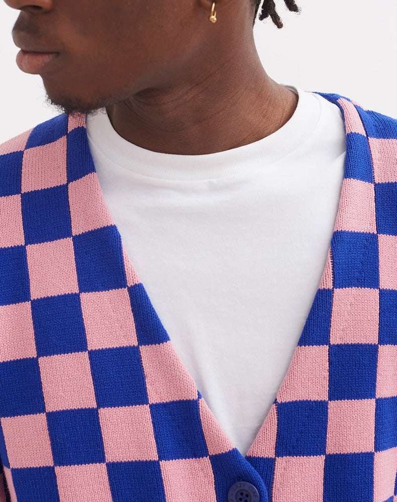 CHEQUER CARDIGAN BLUE PINK