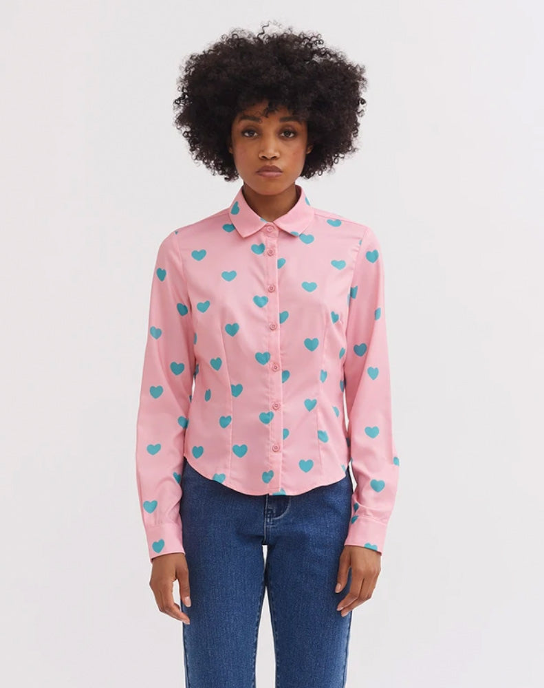 LAZY OAF LITTLE HEART ON SATIN SHIRT