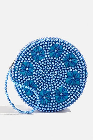 BLUE SEQUIN MINI BAG