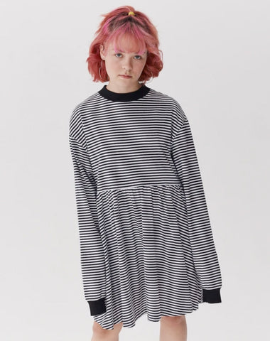 LO STRIPE LONG SLEEVE OVERSIZE DRESS