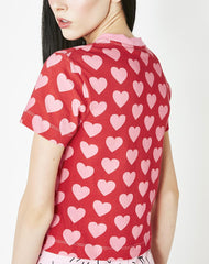 HEART REPEAT FITTED TEE