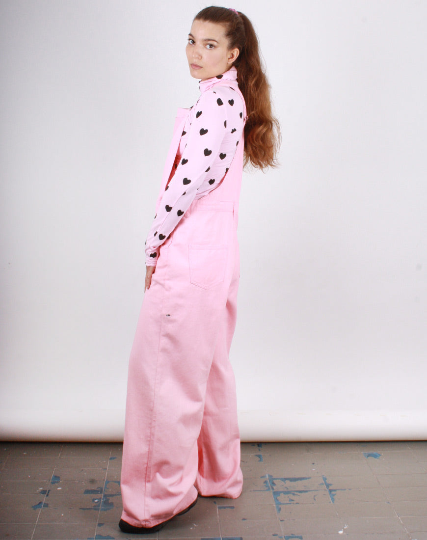PINK WIDE LEG DUNGAREES