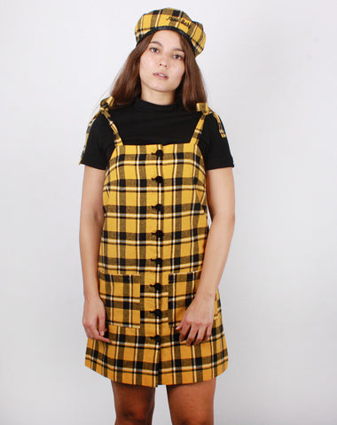 YELLOW CHECK PINNY DRESS