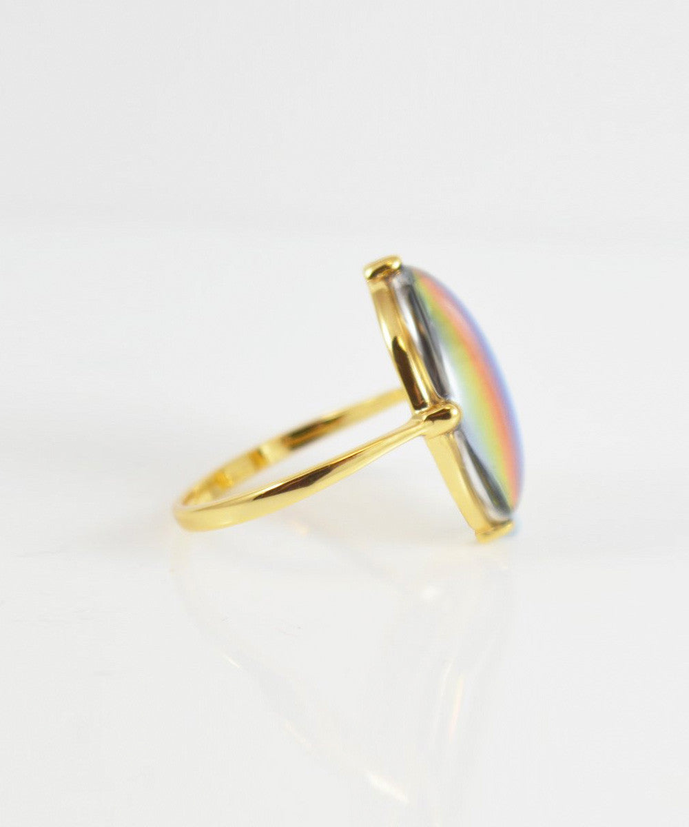 RAINBOW CRYSTAL COCKTAIL RING