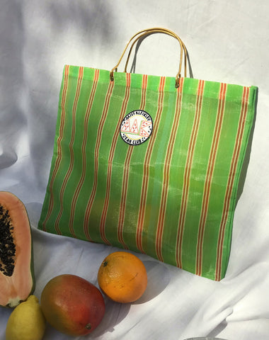 VINTAGE SHOPPING BAG GREEN STRIPES