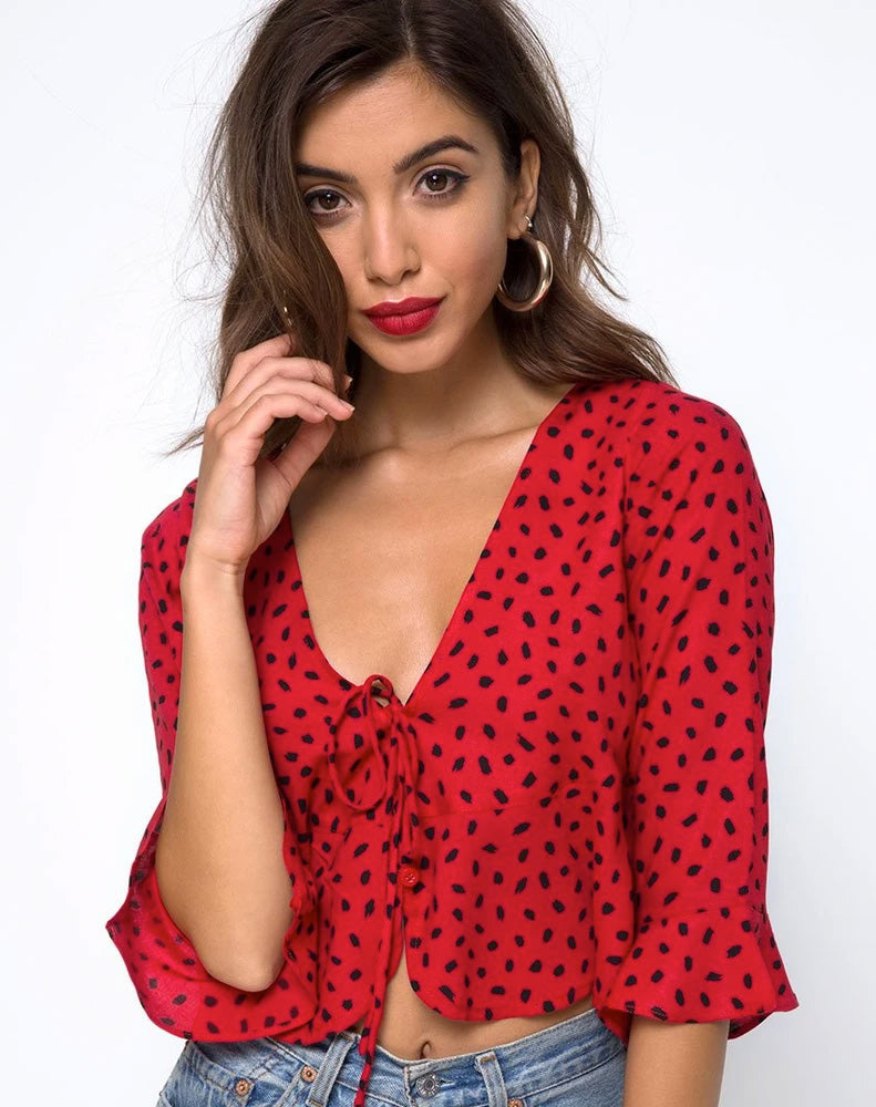 VINEQUA TOP MINI DIANA DOT RED BLACK