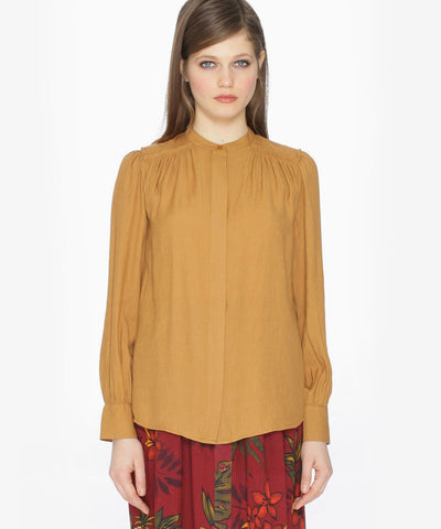 V-NECK VISCOSE SHIRT BROWN