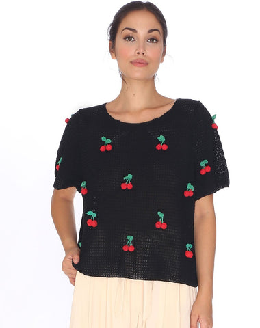 SWEET CHERRIES PATCHES BLACK