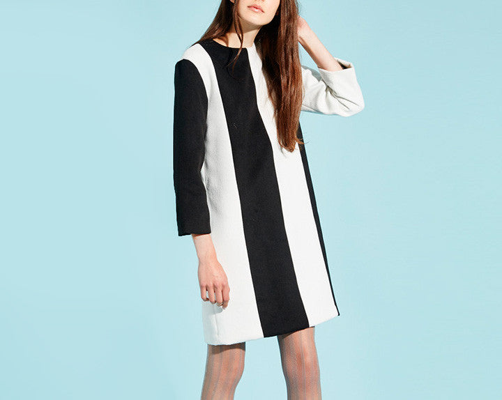 STRIPE WOOL DRESS BLACK IVORY