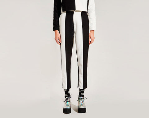 STRIPE WOOL CROP TROUSERS