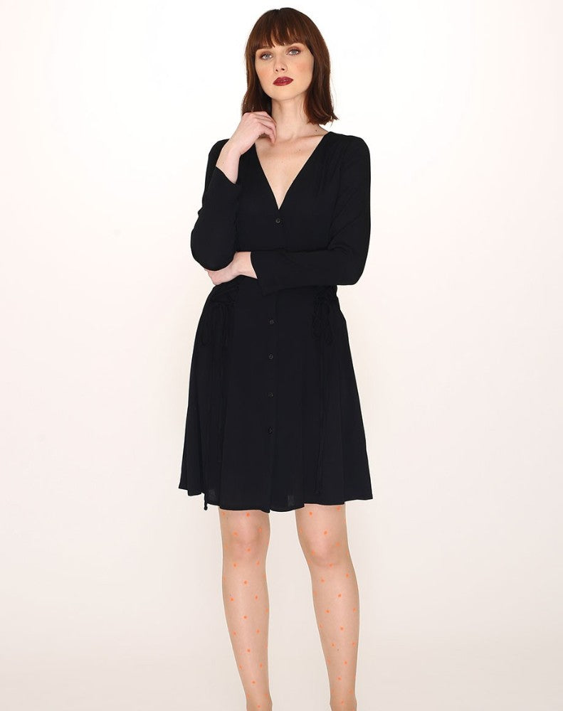 VISCOSE SHORT DRESS BLACK