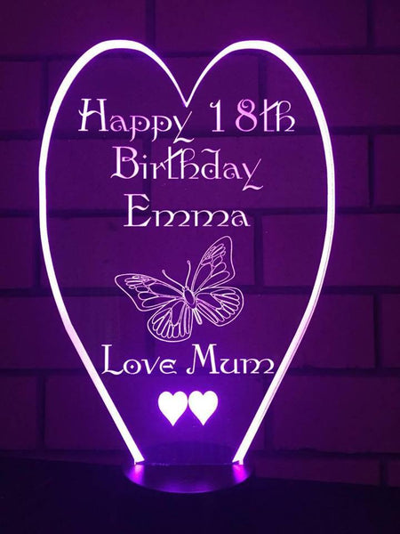 18th birthday heart LED Sign - designaglo