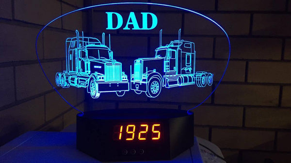 2 Trucks LED Clock inscripted with the word dad- designaglo