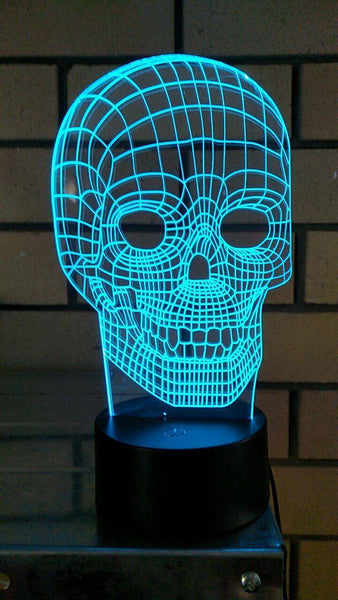 3D acrylic engraved Skull LED light, multi color remote control