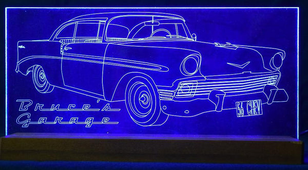 56 Chev car, acrylic engraved LED light,multi color,remote control - designaglo