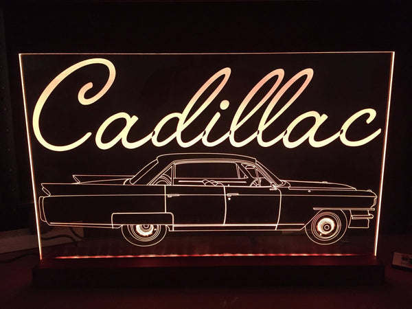 1963 Cadillac car LED Sign, multi color,remote control - designaglo