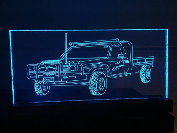 79 Series Toyota Landcruiser acrylic engraved LED light,multi color,remote control - designaglo