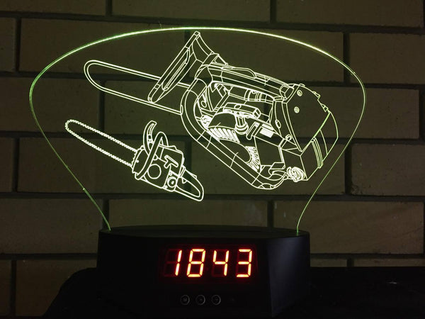 Chainsaw LED Clock - designaglo