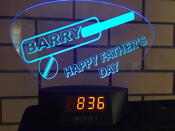 Fathers Day Cricket LED Clock - designaglo
