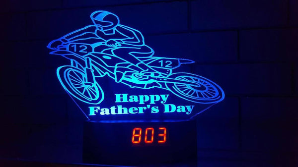 Fathers Day Motorbike Clock - designaglo