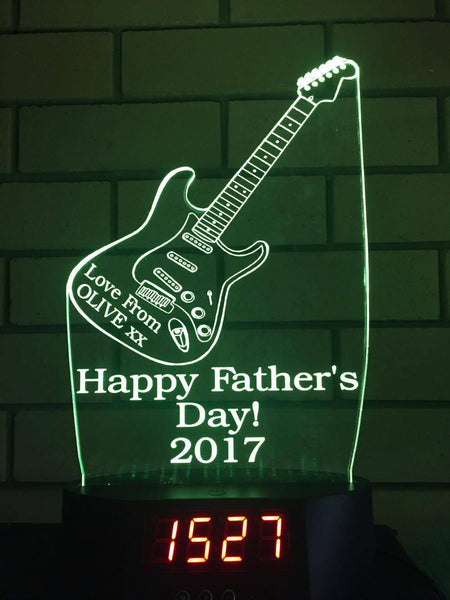 Fathers Day Guitar LED Clock