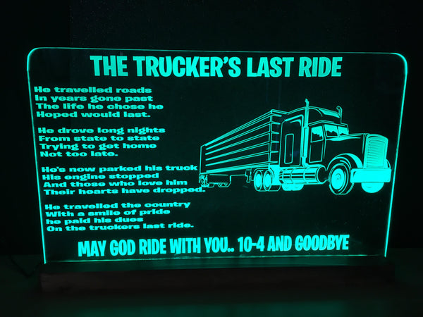 Truckers Last Ride LED light - designaglo