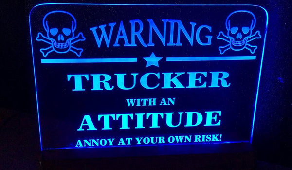 Warning Trucker with Attitude - designaglo