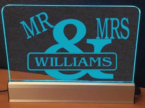 MR & MRS Wedding LED lights - designaglo