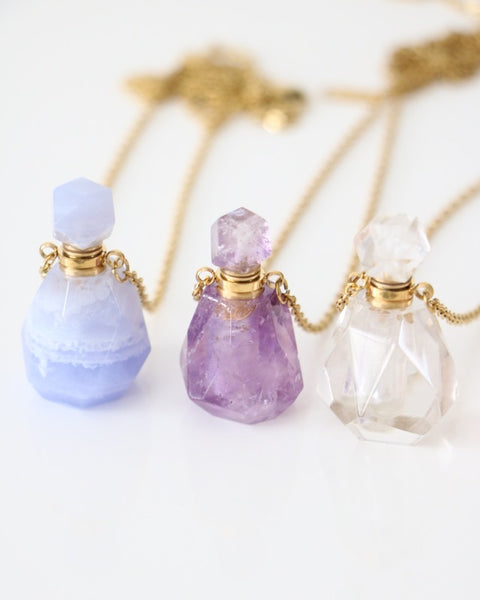 Crystal Bottle Perfume / Oil Necklace