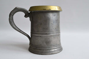 Quart Pewter Measure with a Brass Rim
