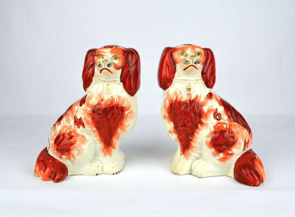 "Antique English Victorian Staffordshire Pottery ""Comforter"" Spaniels"