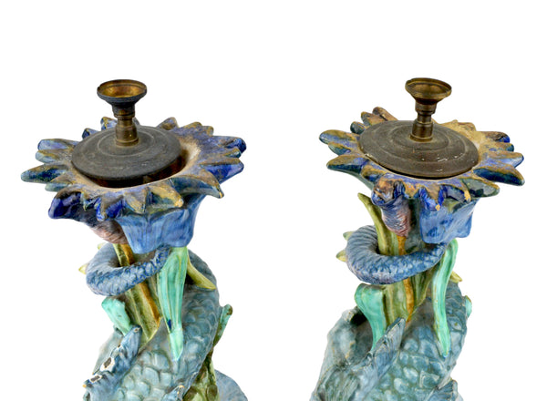 Majolica Serpent Dolphins Candlesticks