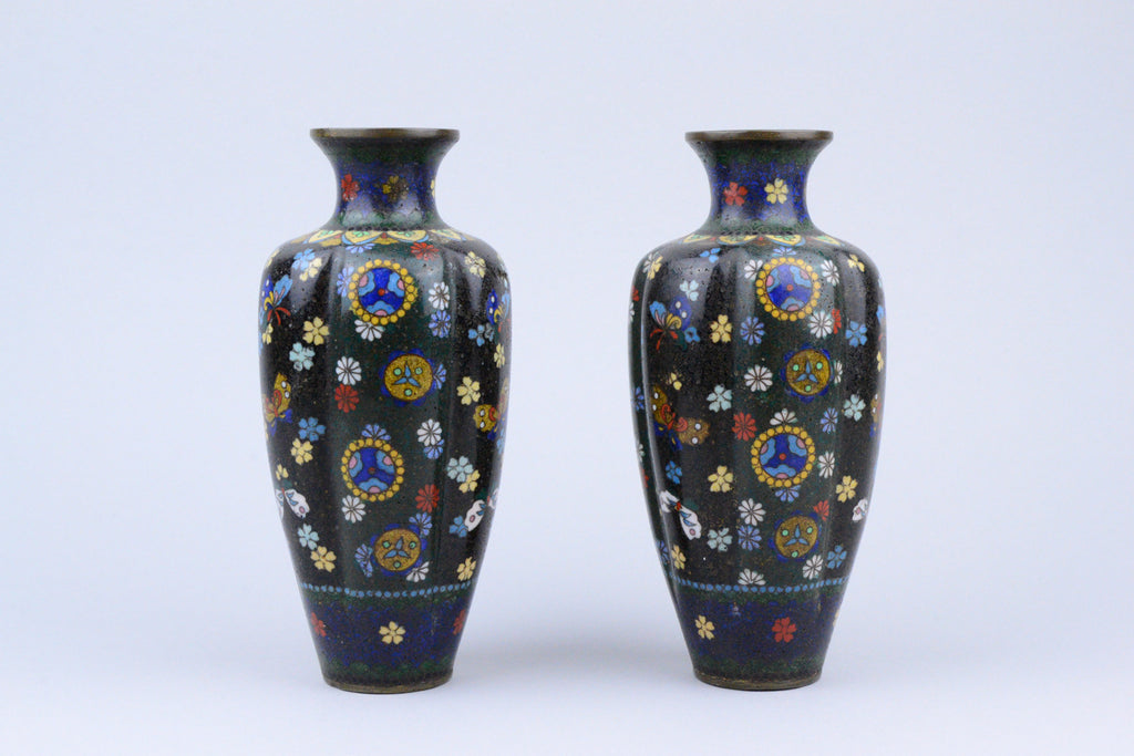 Pair of Meiji Cloisonne Vases