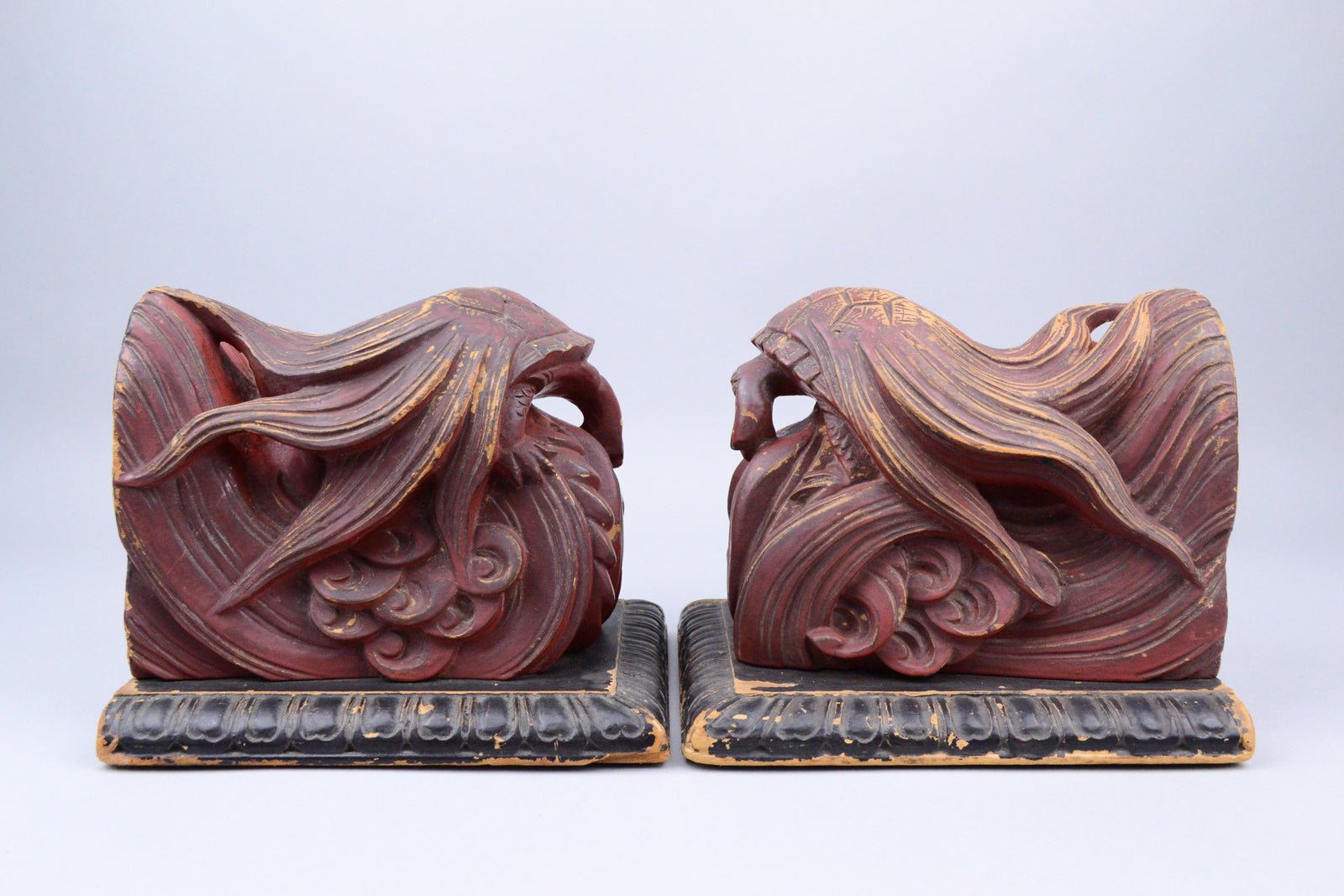 Meiji Lacquered Minogame Bookends