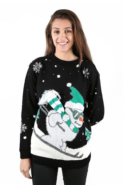 Womens Skiing Snowman Knitted Jumper