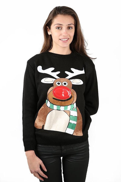Women Black Reindeer Knitted Jumper