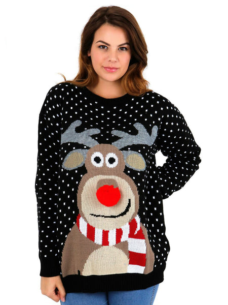 Womens Black 3D Nose Reindeer Christmas Jumper