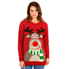 "Womens Red ""3D Rudolph Red Nose"" Reindeer Christmas Jumper"