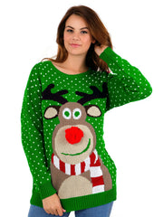 Womens Green 3D Rudolph Red Nose Reindeer Christmas Jumper